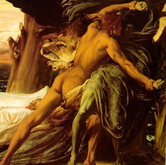 detail from Hercules Wrestling Death for the Body of Alcestis, by Lord Leighton