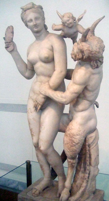 Aphrodite, Pan, and Eros; a statue