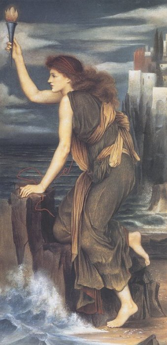 Hero Holding the Beacon for Leander, by Evelyn de Morgan