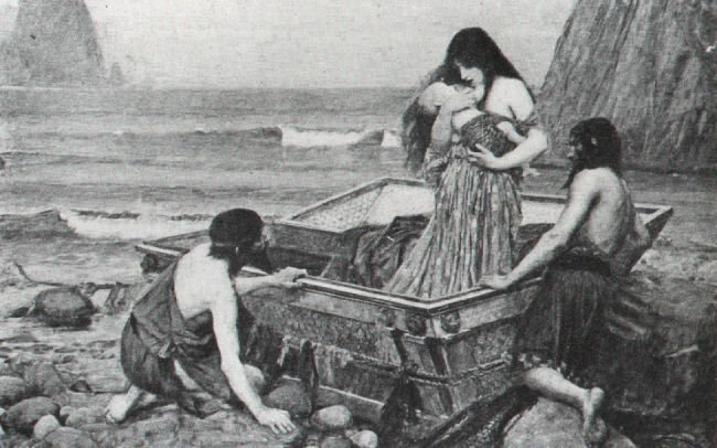 Danae and Baby Perseus being put out to sea, by John Waterhouse